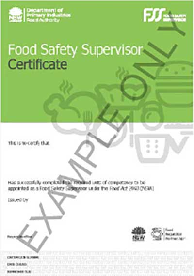 food Safety Supervisor Certificate Sample