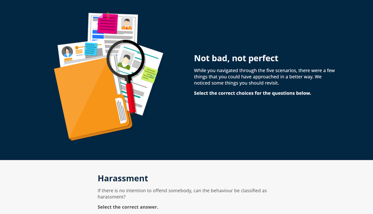 Harassment & Discrimination Online Staff Compliance Training Computer Recap Question