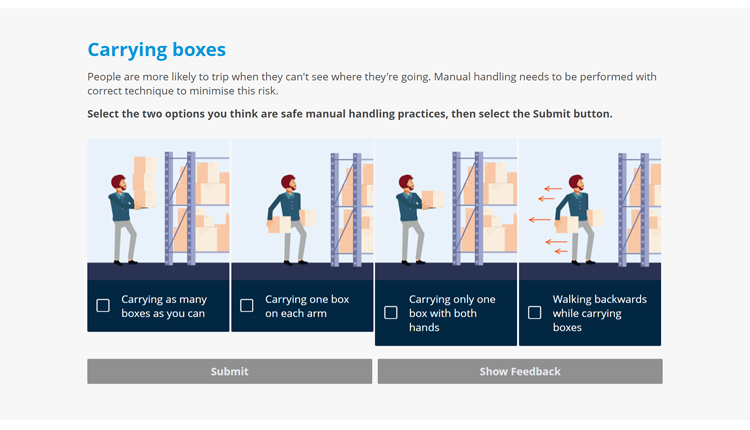 Slips, Trips and Falls Online Staff Training Course_carrying boxes