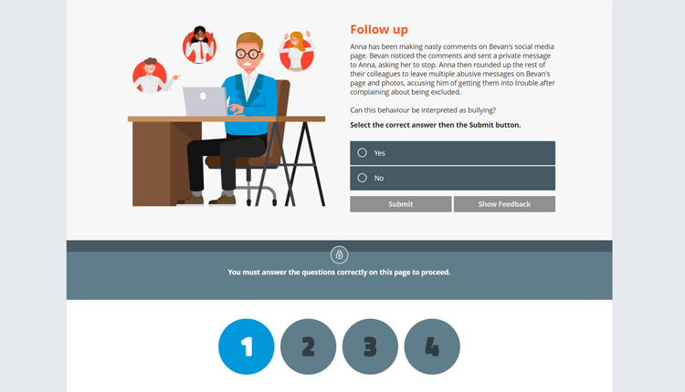 Workplace Bullying Interactive Staff Online Training Course Review Question